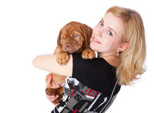 Chica joven con el perrito de Dogue de Bordeaux Fotografía de archivo libre de regalías
