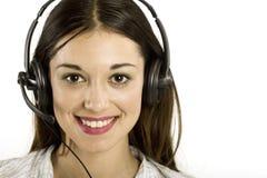 Chica joven con el receptor de cabeza Foto de archivo