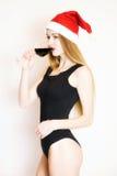Chica joven con el vidrio de vino Foto de archivo libre de regalías