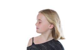 Chica joven con ella ojos cerrados Fotos de archivo