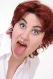 Chica joven con la boca abierta Fotos de archivo