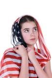 Chica joven con la bufanda del tocado del indicador americano Fotografía de archivo libre de regalías