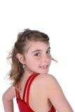 Chica joven con la cara pecosa y la pista dadas vuelta Fotografía de archivo