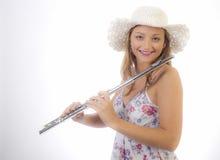 Chica joven con la flauta Imágenes de archivo libres de regalías