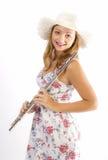 Chica joven con la flauta Foto de archivo libre de regalías