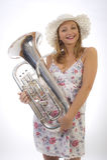 Chica joven con la trompeta Fotos de archivo libres de regalías