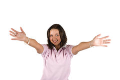 Chica joven con las manos abiertas al abrazo Foto de archivo
