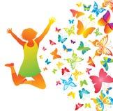 Chica joven con las mariposas. stock de ilustración