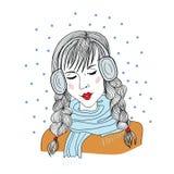 Chica joven con los auriculares que se colocan con los ojos cerrados stock de ilustración