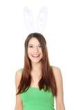 Chica joven con los oídos del conejito Imágenes de archivo libres de regalías