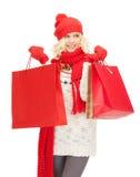 Chica joven con los panieres Fotos de archivo libres de regalías