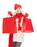 Chica joven con los panieres Fotografía de archivo libre de regalías