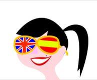 Chica joven con los vidrios con las banderas del Reino Unido y de la España que significan la posibilidad de traducir en ambas id libre illustration