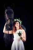 Chica joven con su caballo Imagenes de archivo