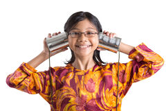 Chica joven con Tin Can Telephone II Imagen de archivo