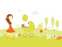 Chica joven con un bebé en cochecito de niño Imagen de archivo