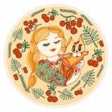 Chica joven con un gato Vector amarillo, verde y rojo i decorativo stock de ilustración