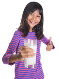 Chica joven con un vidrio de la leche XII Imágenes de archivo libres de regalías