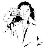 Chica joven con una cámara stock de ilustración