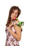 Chica joven con una máscara para el salto Fotos de archivo