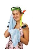 Chica joven con una máscara para el salto Fotografía de archivo libre de regalías
