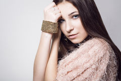 Chica joven de la belleza Cara hermosa makeover Piel perfecta fotografía de archivo libre de regalías