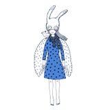 Chica joven dulce en una máscara ilustración del vector