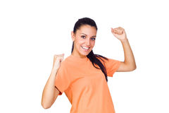 Chica joven emocionada que sonríe con las manos levantadas Fotos de archivo