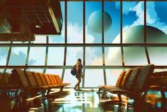 Chica joven en aeropuerto Imágenes de archivo libres de regalías