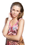Chica joven en alineada rosada Imágenes de archivo libres de regalías