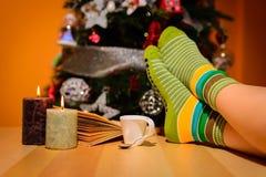 Chica joven en atmósfera de la Navidad Foto de archivo libre de regalías