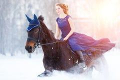 Chica joven en caballo de montar a caballo del vestido en campo del invierno Imagenes de archivo