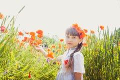 Chica joven en campo de la amapola Fotos de archivo libres de regalías