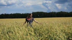 Chica joven en el campo de trigo almacen de video