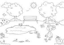 Chica joven en el parque stock de ilustración