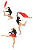 Chica joven en el salto de la ropa de la gimnasia Fotografía de archivo libre de regalías