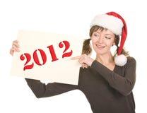 Chica joven en el sombrero de Santa Foto de archivo