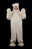Chica joven en el traje del oso polar foto de archivo libre de regalías