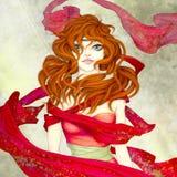 Chica joven en el vestido rojo Imágenes de archivo libres de regalías