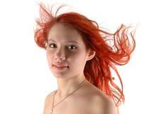 Chica joven en el viento Imagen de archivo
