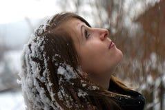 Chica joven en invierno Imágenes de archivo libres de regalías