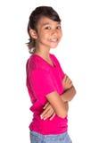 Chica joven en la camiseta rosada III Fotografía de archivo