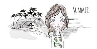 Chica joven en la playa del mar en la puesta del sol, las palmeras y la choza en la orilla libre illustration