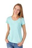 Chica joven en la sonrisa de la ropa casual Fondo blanco Foto de archivo