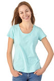 Chica joven en la sonrisa de la ropa casual Fondo blanco Fotografía de archivo libre de regalías