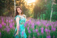 Chica joven en púrpura en el bosque en la puesta del sol Foto de archivo libre de regalías