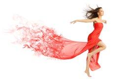 Chica joven en paño rojo Imagenes de archivo