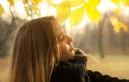 chica joven en un fondo del follaje del otoño en un árbol Imagenes de archivo