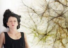 Chica joven en un web de araña Fotografía de archivo