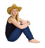 Chica joven en una alineada del granjero Fotos de archivo libres de regalías